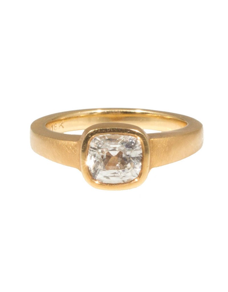 White Sapphire with Cut Out Setting in 18k Rose Yellow Gold