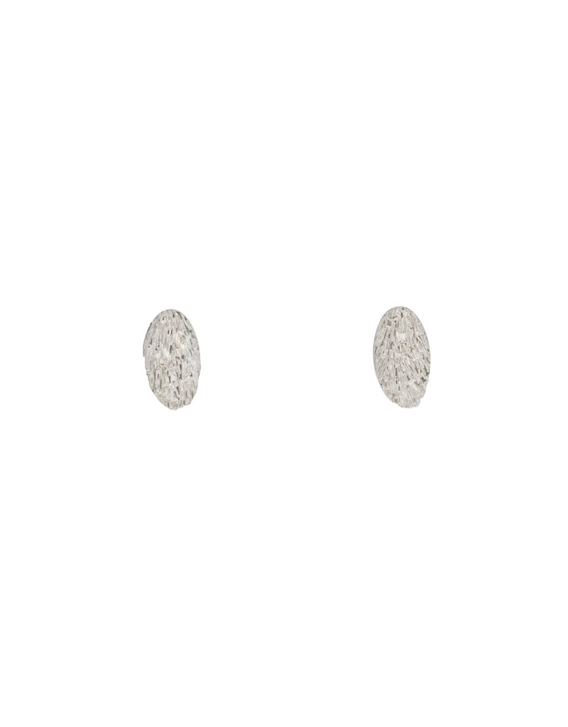 Furry Oval Post Earrings in Silver