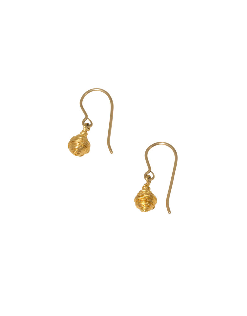 Gold Wire Wrap Dangle Earrings