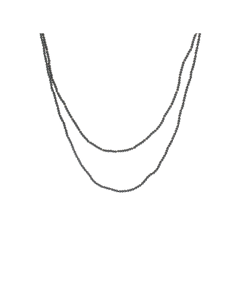 """Hematite Bead Necklace with Silver Clasp - 30"""""""