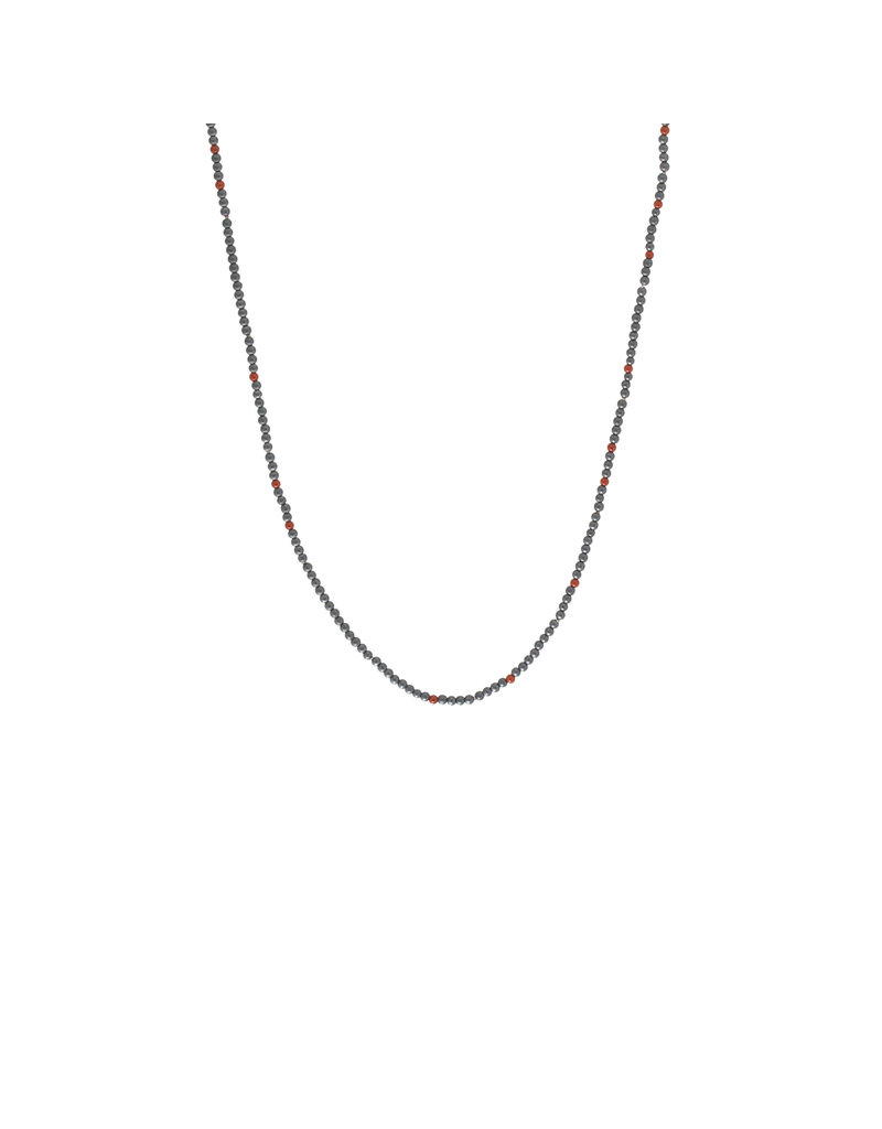Hematite and Red Poppy Jasper Bead Necklace with Silver Clasp - 35""