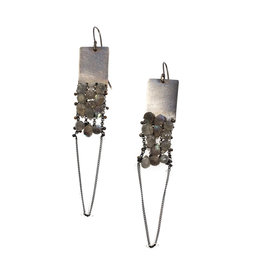 Labradorite and Glass Earrings