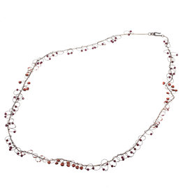 Long Garnet Bead Loops Necklace