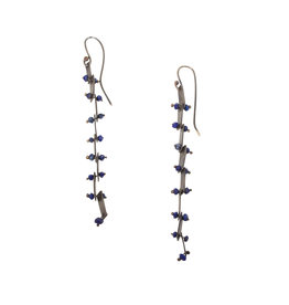Long Lapis Bead and Oxidized Silver Earrings
