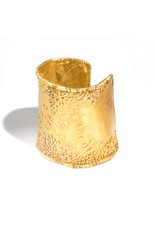 June Schwarcz Medium Gold Plated Cuff with Ripple