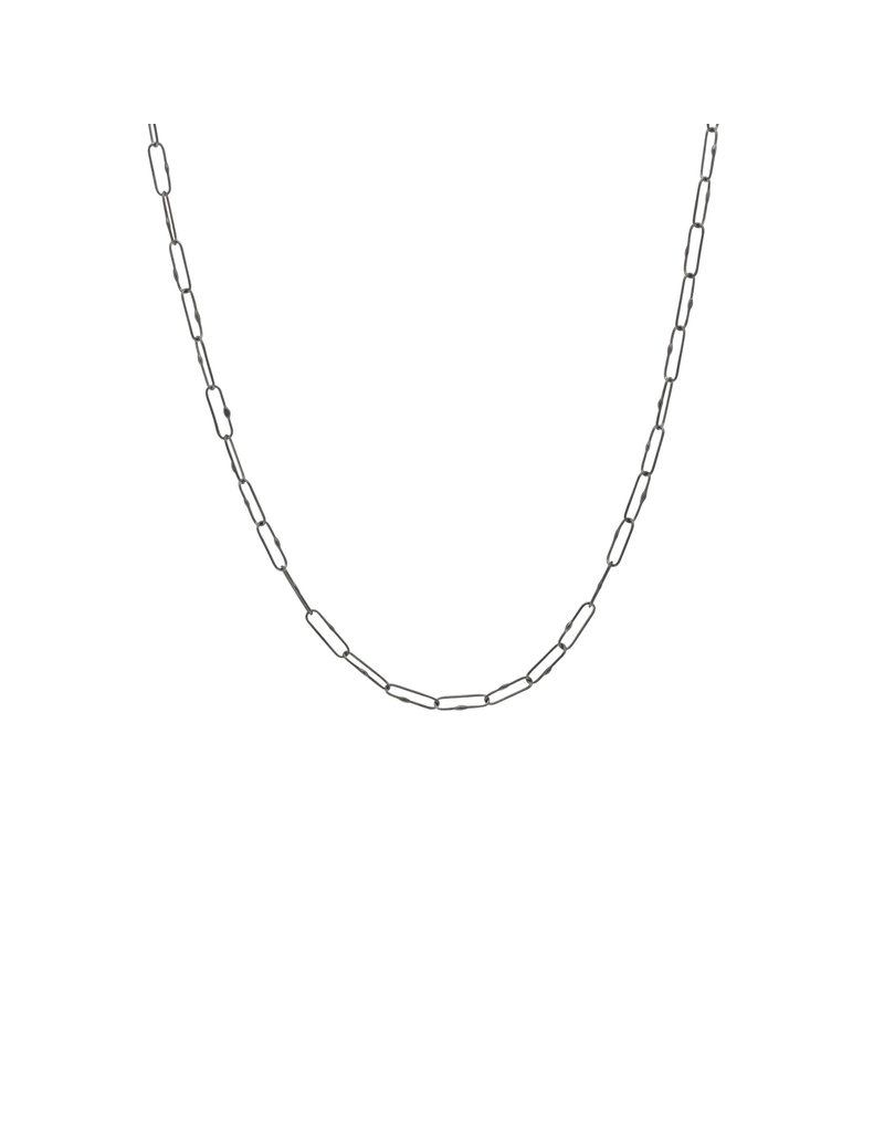 Medium Weight Short Links Chain in Oxidized Silver - 24""