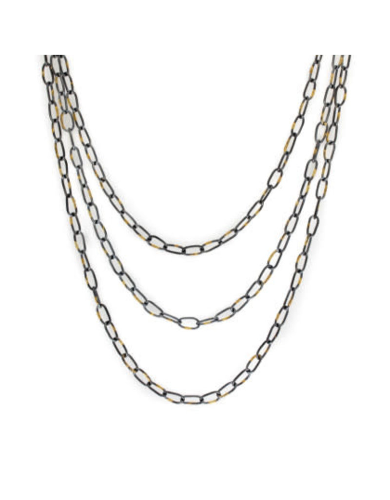 Organic Chain in Oxidized Silver and 18k Gold - 20""