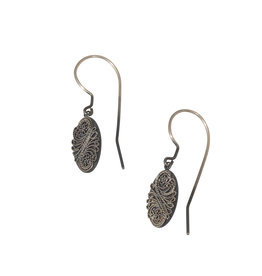 Oxidized Oval Filigree Earrings