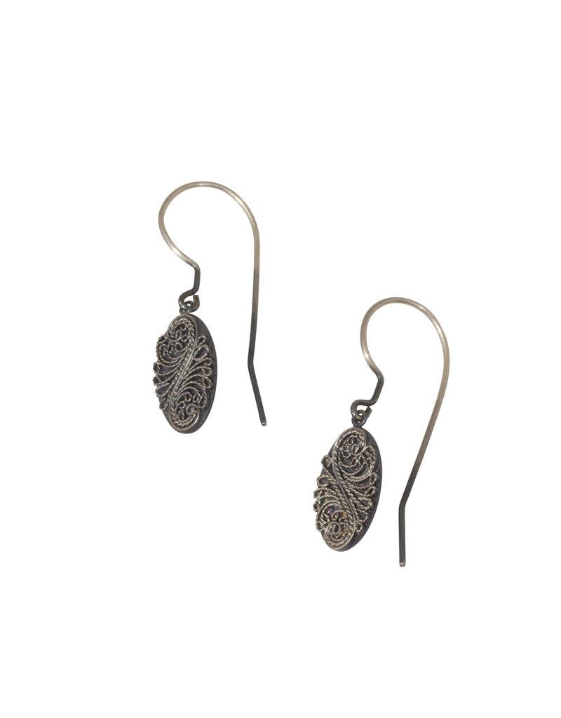 Oxidized Oval Filigree Earrings