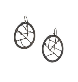Oxidized Silver Flat Earrings