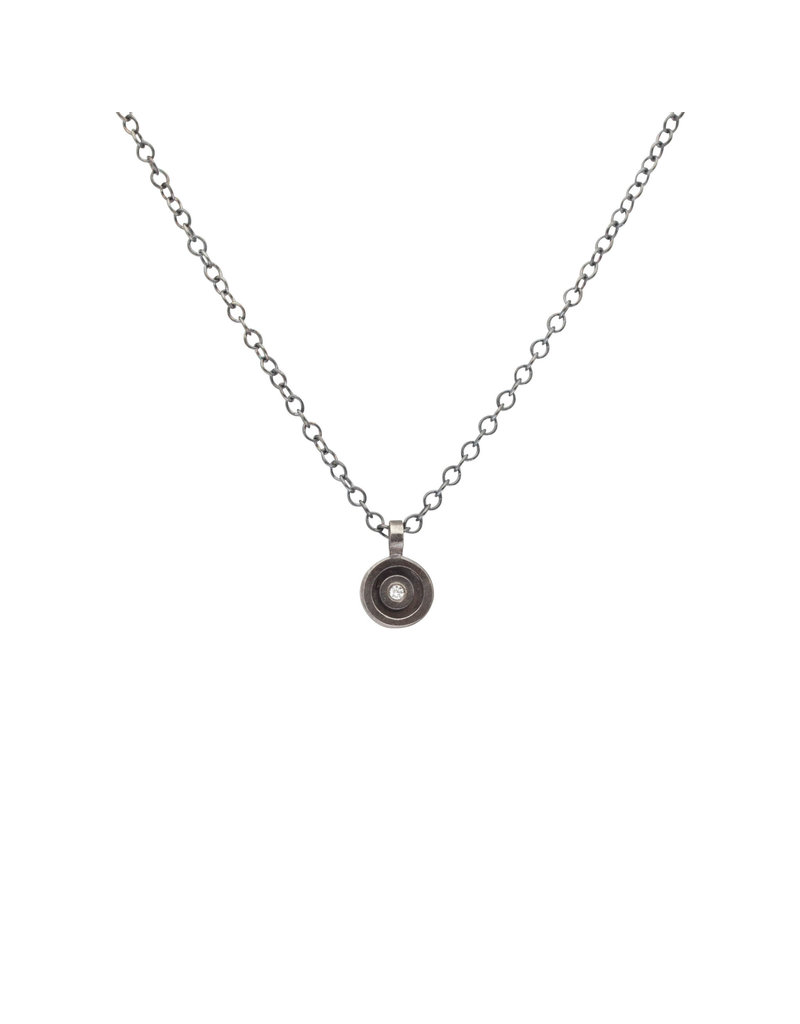 Round Diamond Pendant in Oxidized Silver