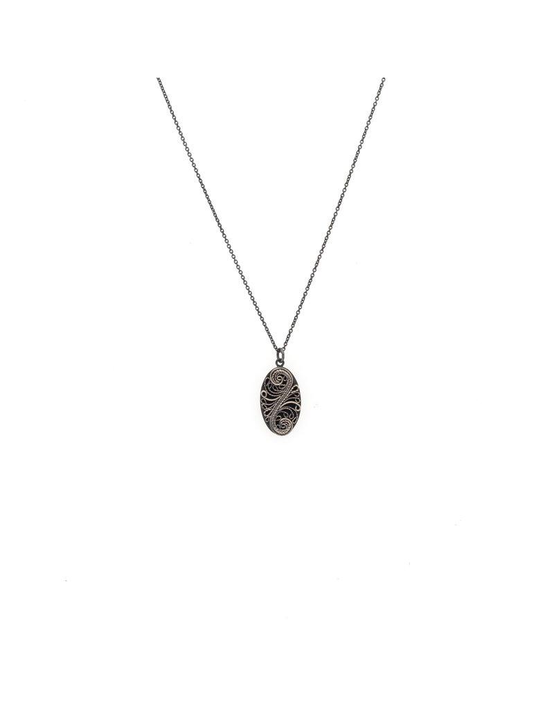 Small Filigree Pendant in Oxidized Silver