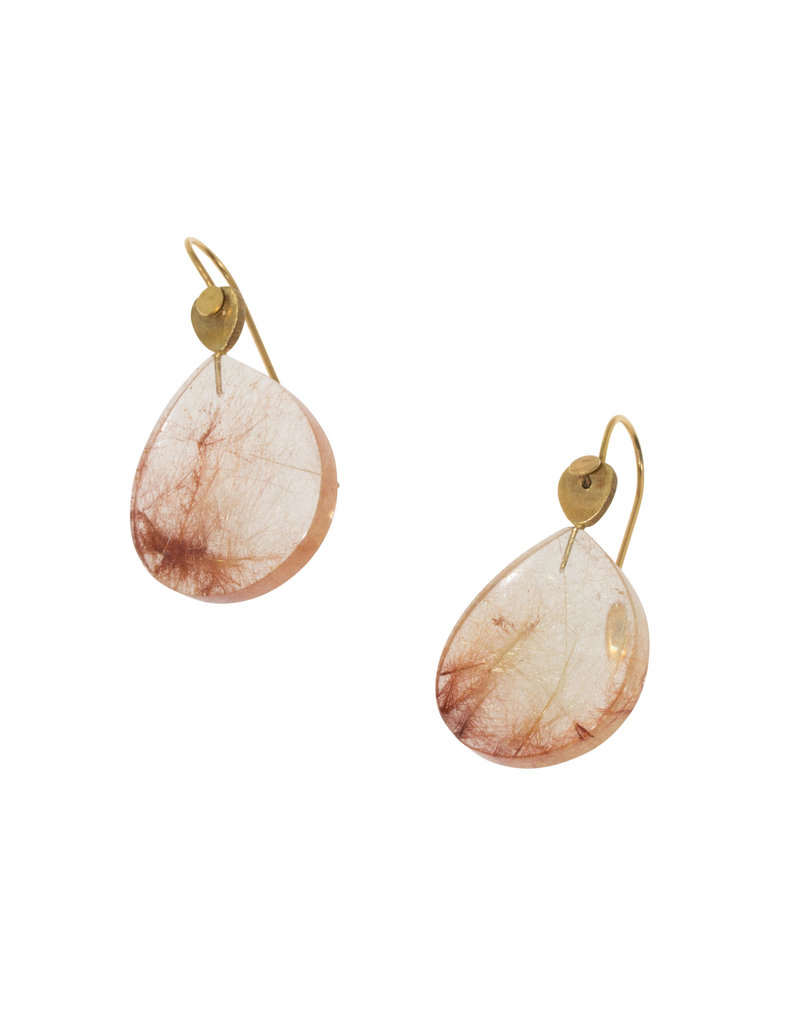 Teardrop Rutilated Quartz Earrings in 18k Yellow Gold