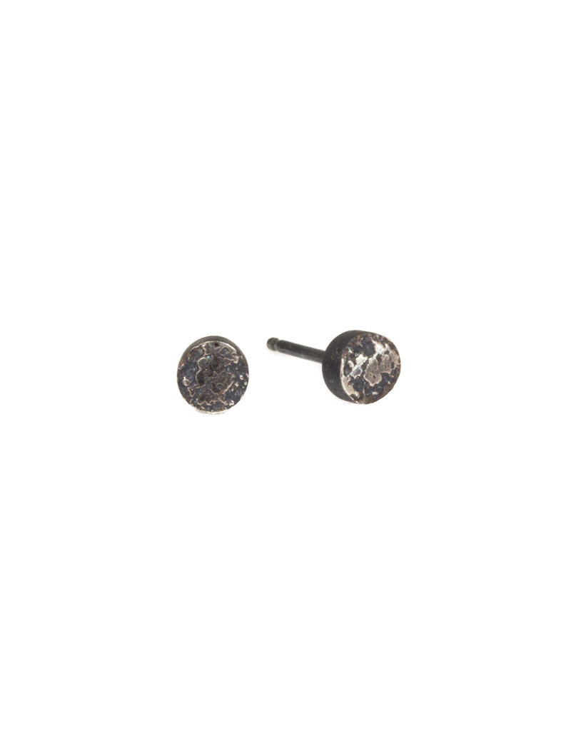 Smashed Sand Post Earrings in Oxidized Silver