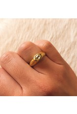 Ancient Band Ring with Gem Quality Natural Diamond Crystal in 18k Yellow Gold