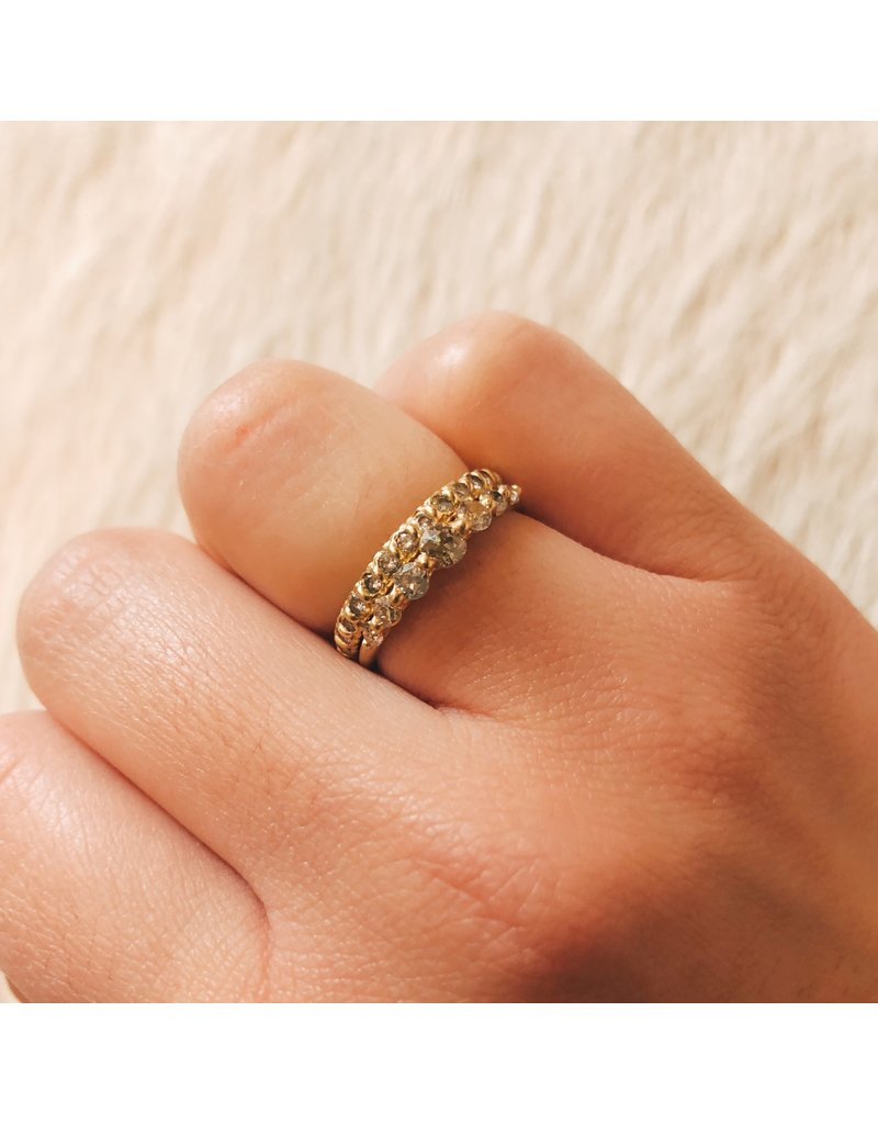 Halo Ring with Seven Graduated Miner's Cut Round Diamonds in 18k Yellow Gold