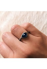 Organic Horizontal Pear Shaped Blue Sapphire Palladium Ring