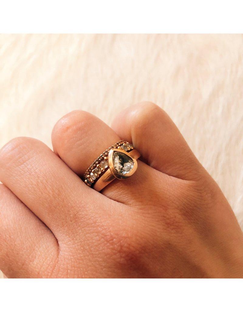 Rapunzel Ring with Rustic Rose Cut Diamonds in 18k Rose Gold