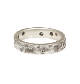 4mm Topography Ring with Diamond Mackles in Silver