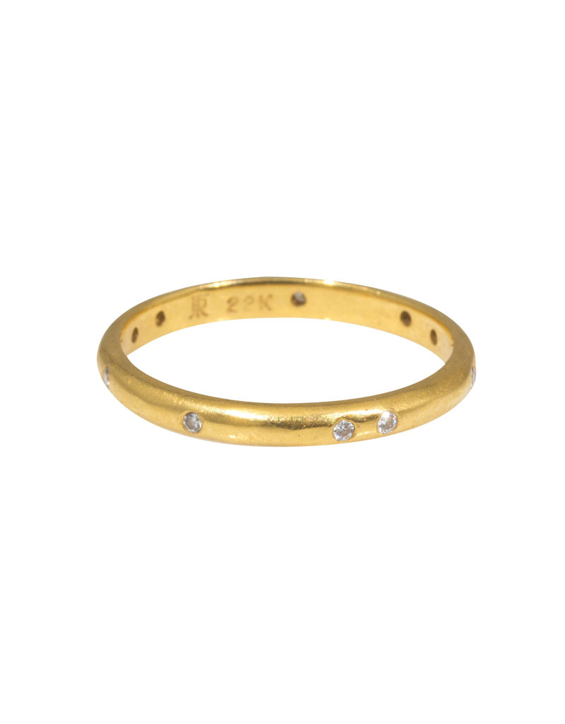 2.25 mm White Diamond Band with Modeled Texture in 22k Yellow Gold
