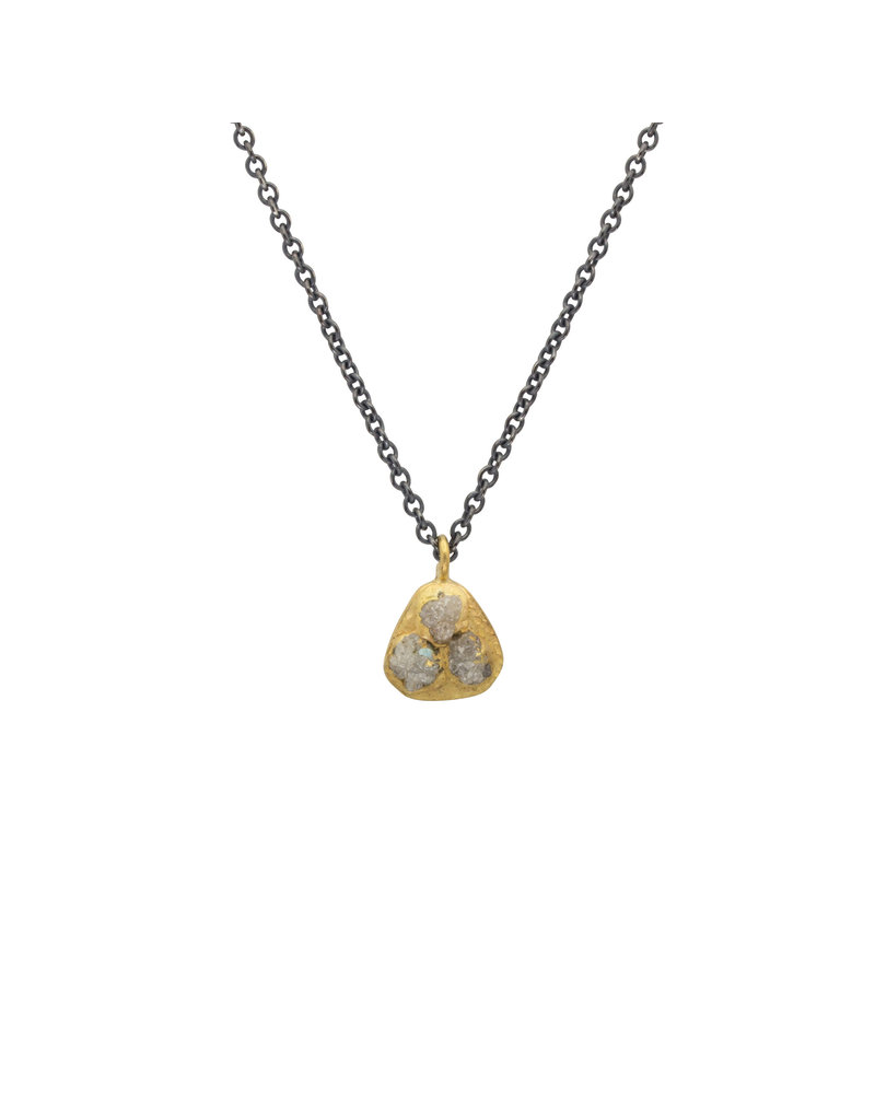 Raw Diamond Pendant in 18k Yellow Gold