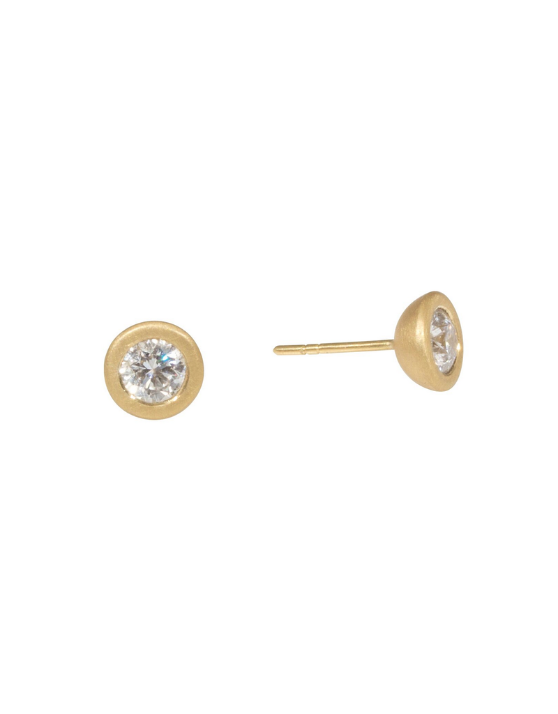 Bezel Set Diamond Post Earrings in 18k Yellow Gold