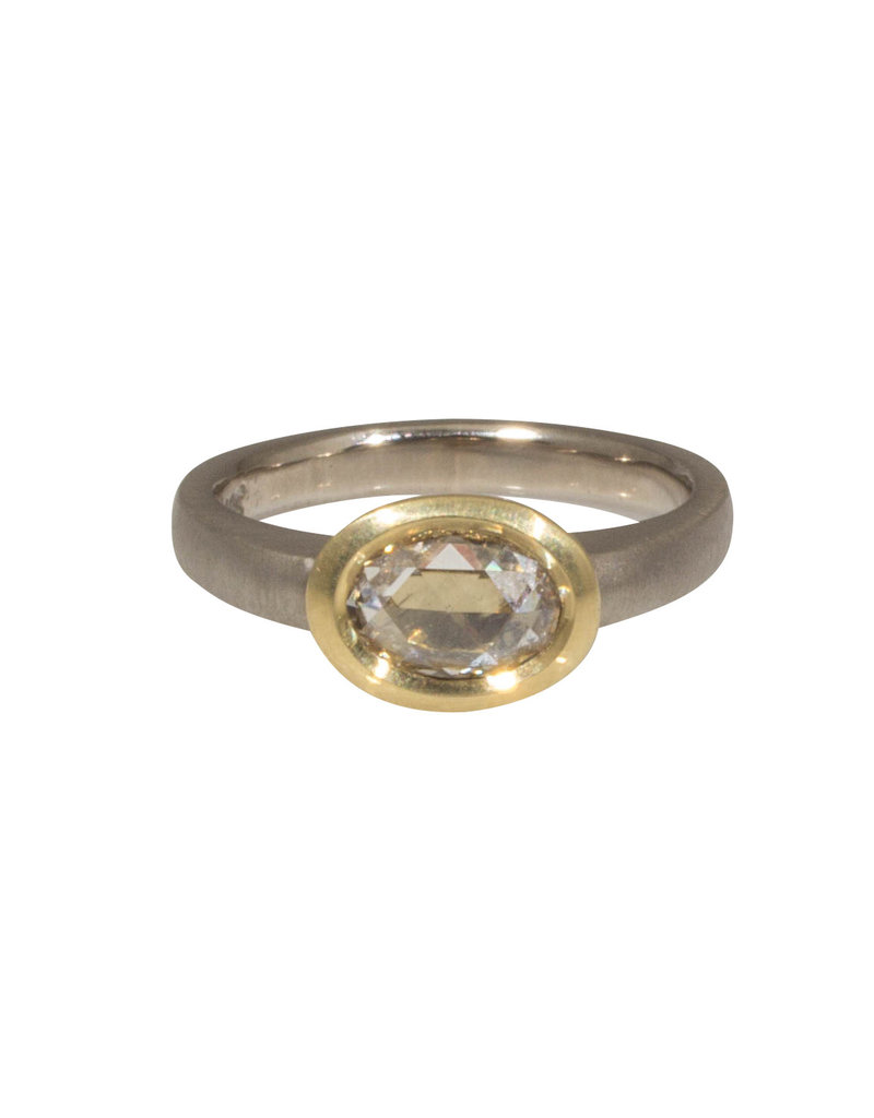 CUSTOM Raised Cup Oval Diamond Ring in 18k Palladium White Gold and Yellow Gold