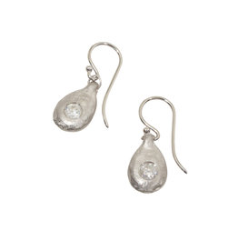 Organic Modeled Drop Earrings with White Diamonds in Platinum