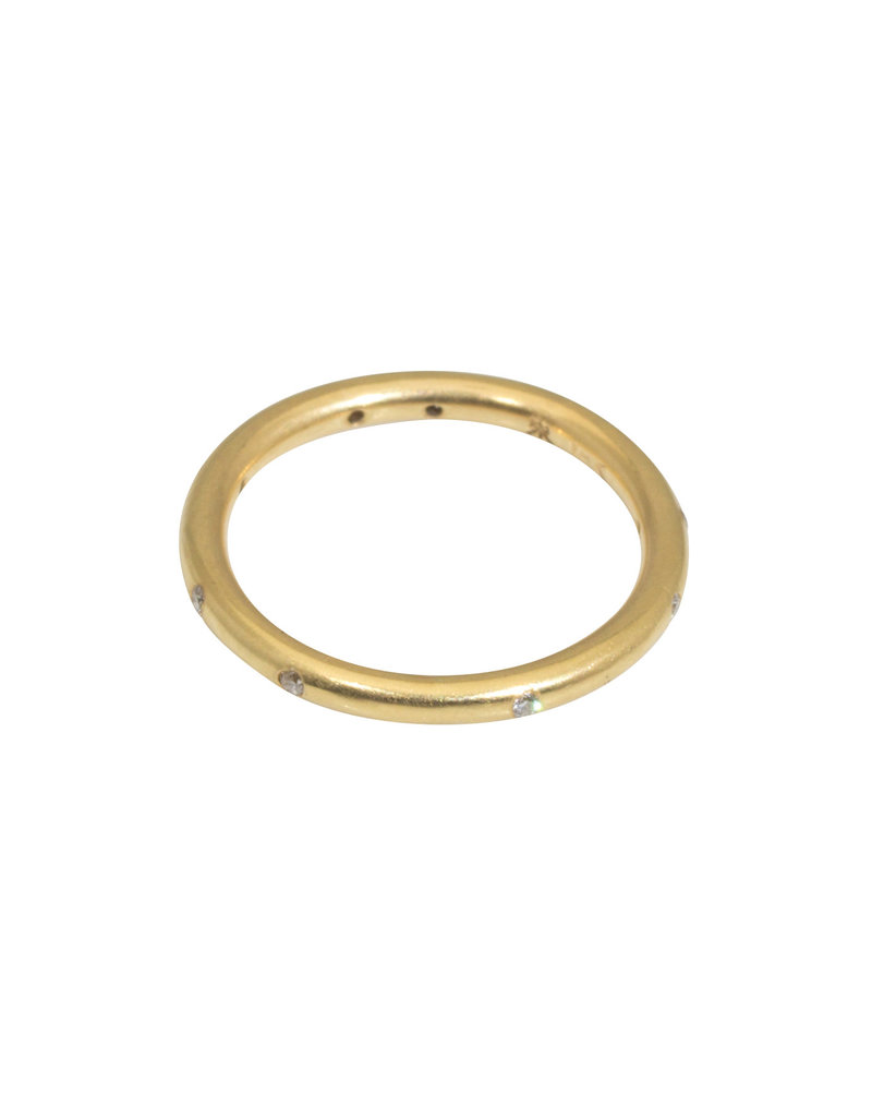 Simple Round Band with White Diamonds in 18k Yellow Gold