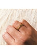 Eternity Flat Beaded Band with 22 Diamonds in 18k Yellow Gold