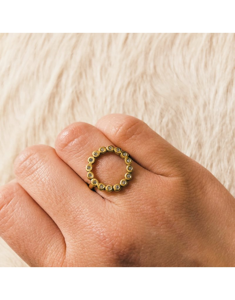 Circle Ring with White Diamonds in 18k Yellow Gold