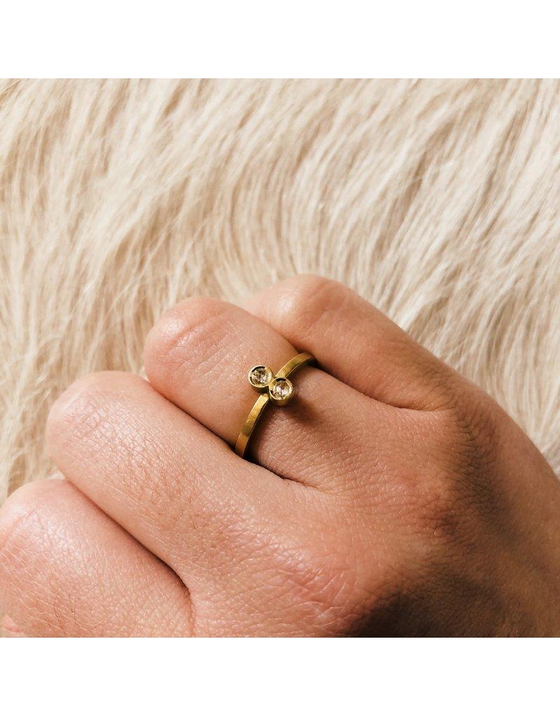 Double Rosecut Diamond Ring in 18k Yellow Gold
