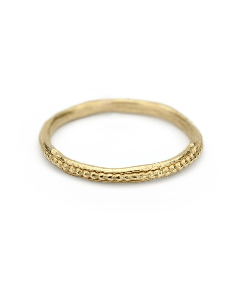 Single Beaded Band in 18k Yellow Gold