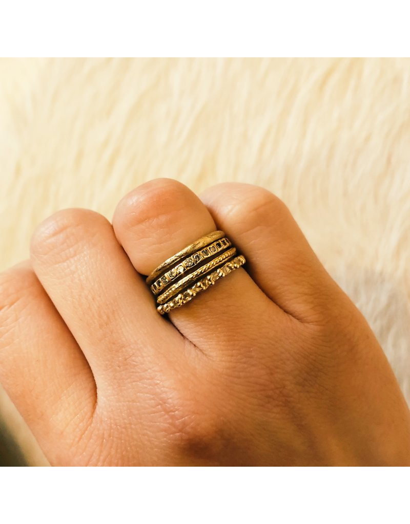 Thin Stone Textured Band in 14k Yellow Gold