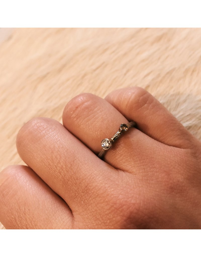 Pebble Stacking Ring with .03ct Cognac Diamond and .15ct White Diamond in 18k White Gold