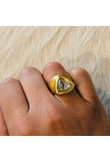 Egyptian Diamond Ring with Rose Cut Cognac Diamond in 22k