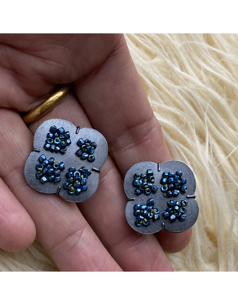 Large Criss Cross Post Earrings in Oxidized Silver with Vintage Blue Beads