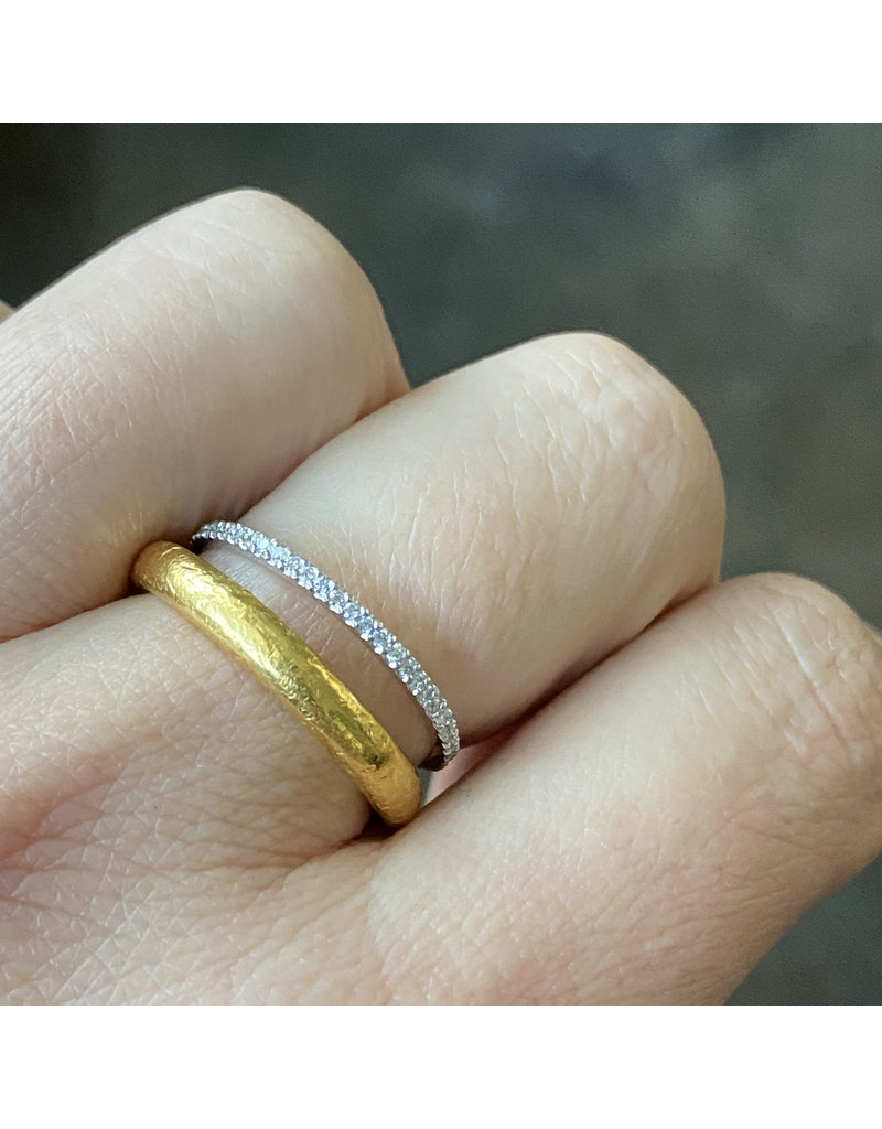Micro Pave Eternity Band with White Diamonds in Platinum