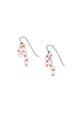 Short Constellation Earrings in Oxidized Silver with Coral Beads