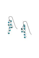 Short Constellation Earrings in Oxidized Silver with Turquoise Beads