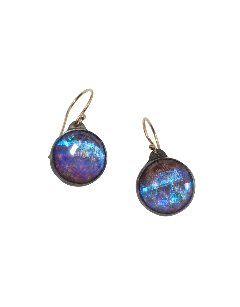 Antique Style Quartz Morpho Earrings in Oxidized Silver with 14k Gold Wires