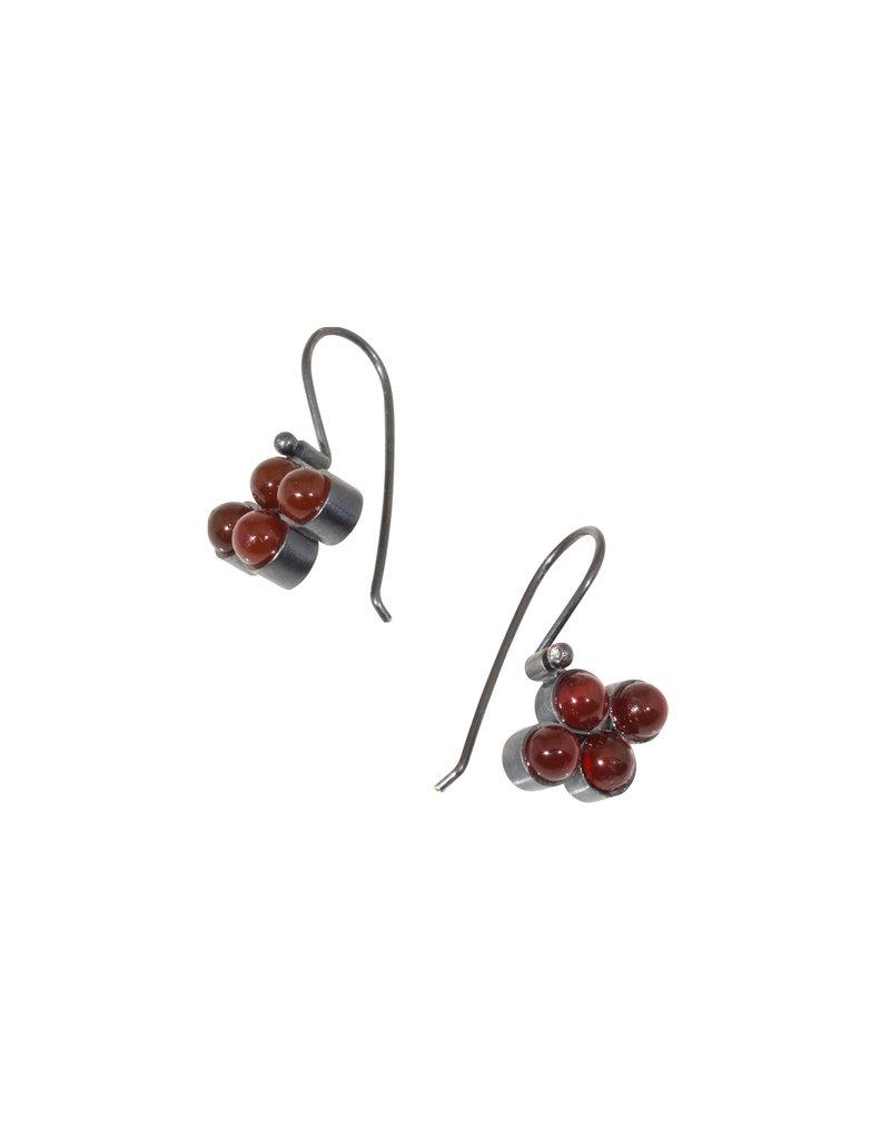 Four Bead Carnelian Earrings in Oxidized Silver Wire
