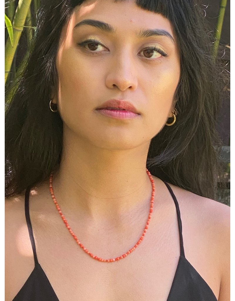 Vintage Coral Bead Necklace with 20k Yellow Gold