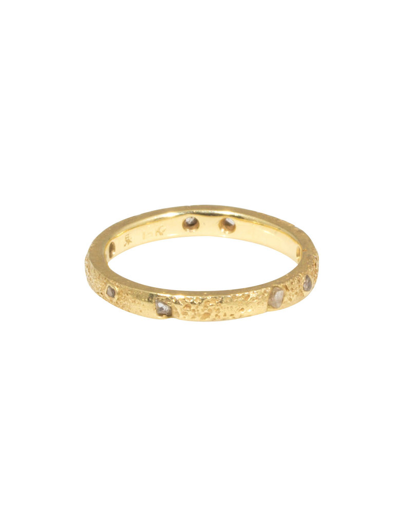 2.5mm Topography Ring with Diamond Mackles in 18k Yellow Gold