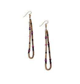 Last Night Single Loop Earrings in Grey and Pink