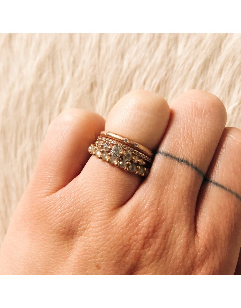 Micro Pave Eternity Band with Cognac Diamonds in 14k Rose Gold