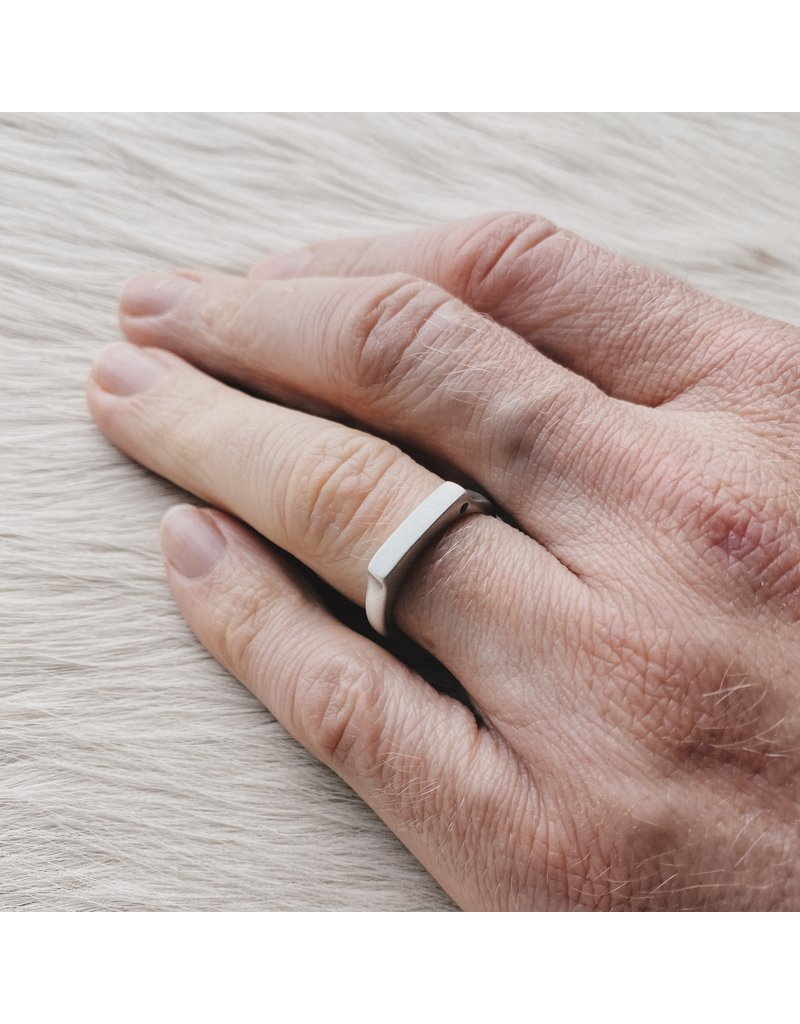 3.75mm Channel Ring with Black Diamond in Silver