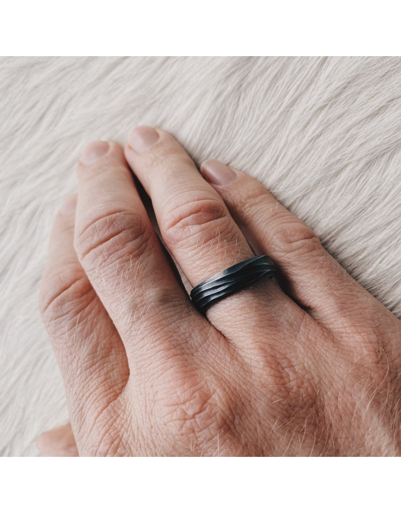 Wide Wave Ring in Oxidized Silver
