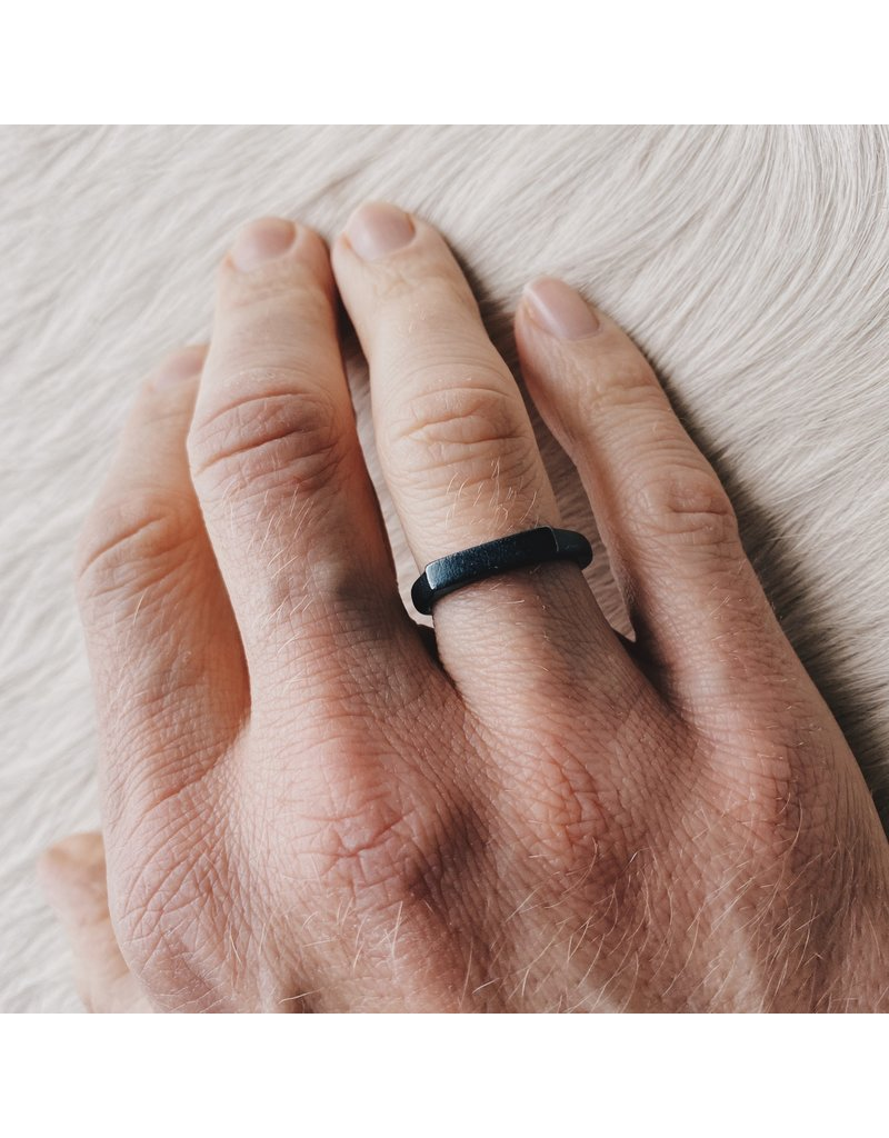 3.75mm Thin Channel Ring in Oxidized Silver