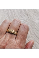 5mm Half Round Silk Textured Ring in 18k Yellow Gold